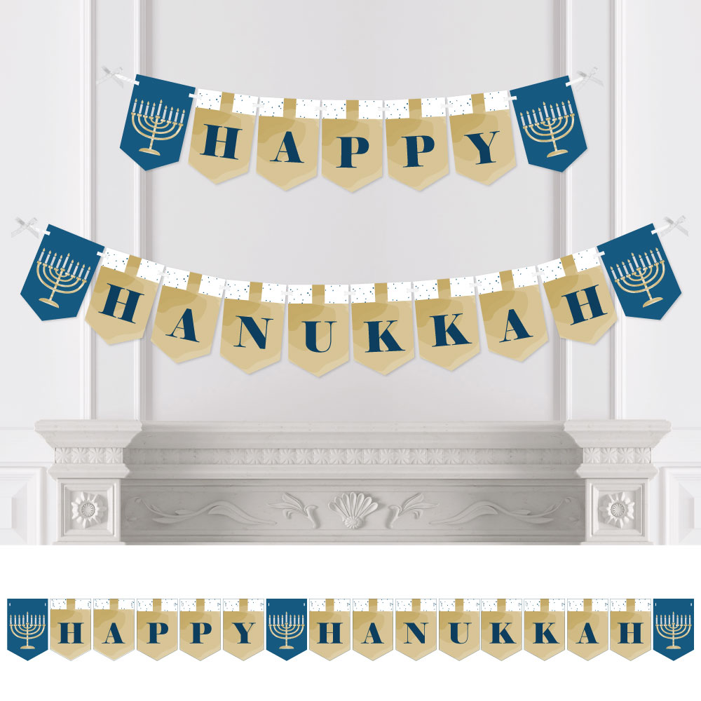 Happy Hanukkah - Chanukah Bunting Banner - Menorah Party Decorations