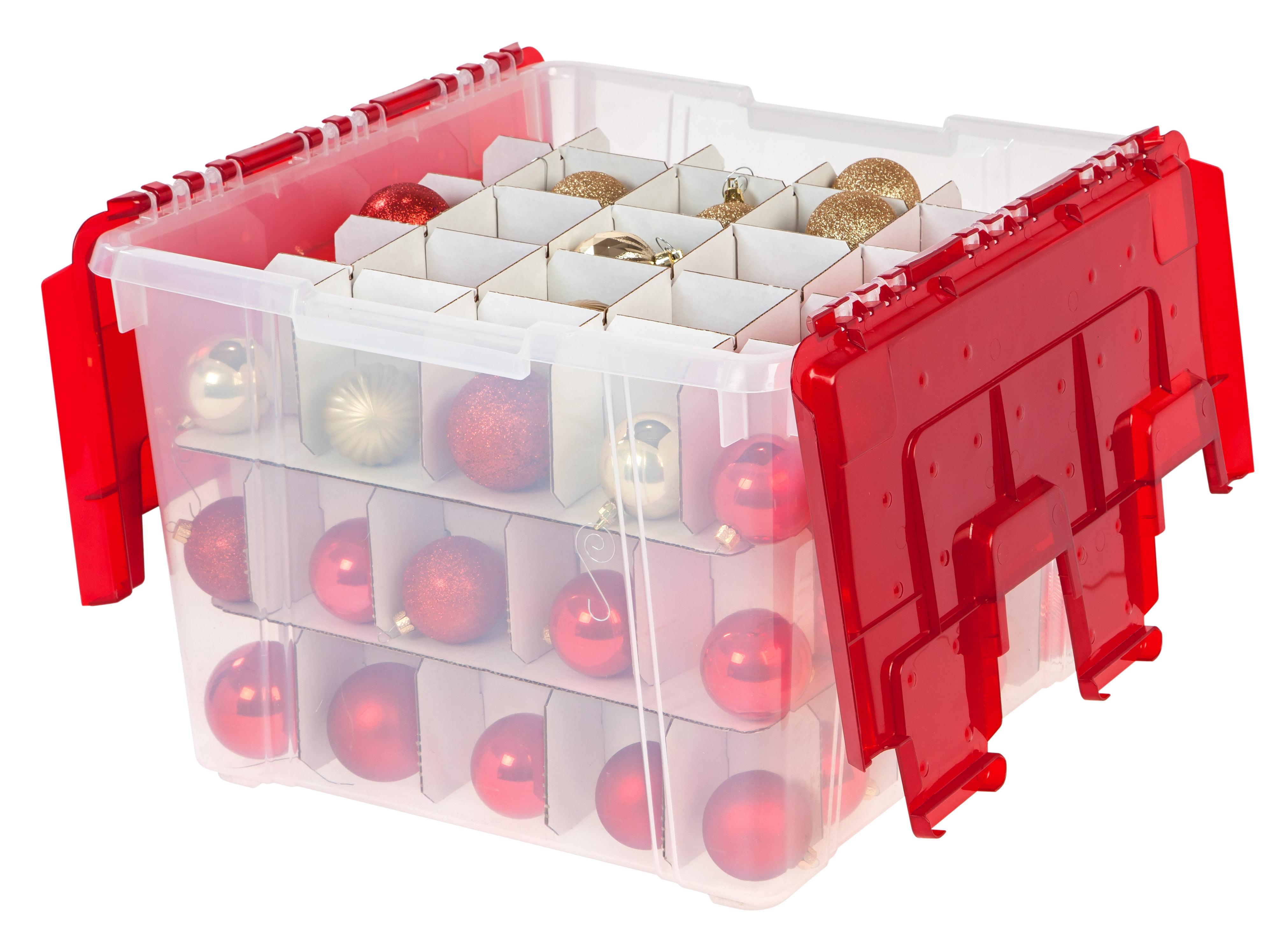 IRIS Ornament Storage Box, 2 Pack, Red