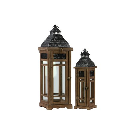 Brass Lantern Collection (Urban Trends Collection: Wood Lantern Weathered Wood Finish )