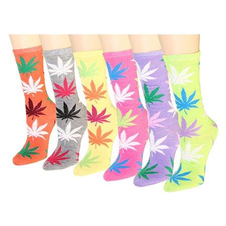 12 Pairs Women's Crew Socks Assorted Colors Size 9-11 Marijuana