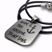 "Necklace-Hope Is The Anchor-Stainless Steel On 18"" Leather"
