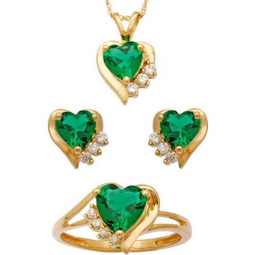 3.86 Carat T.G.W. Simulated Emerald and CZ 14kt Gold over Sterling Silver Heart Pendant, Earrings and Ring Set