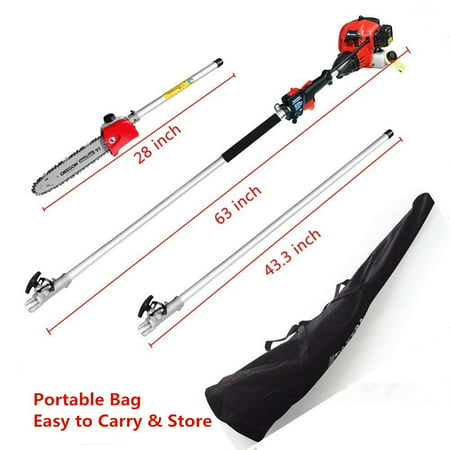 Maxtra 42.7CC 2 Stroke 1.5HP 1100W Gas Pole Chainsaw Pruner Trimmer with Adjustable Length 11.35 Feet to 8.2
