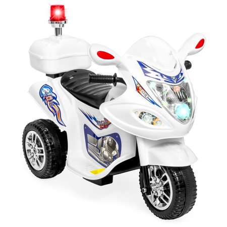 Best Choice Products 6V Kids Battery Powered Electric 3-Wheel Police Emergency Motorcycle Bike Ride-On Toy w/ LED Lights, Music, Horn, Storage  -  White](Kids Police Car)