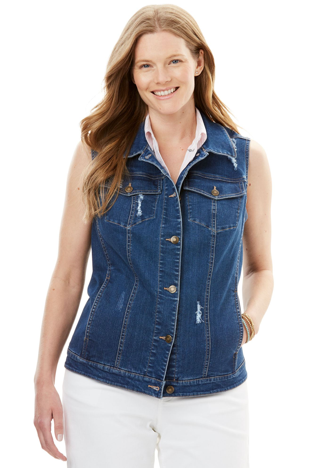 100% authentic best choice order Woman Within - Plus Size Stretch Jean Vest - Walmart.com