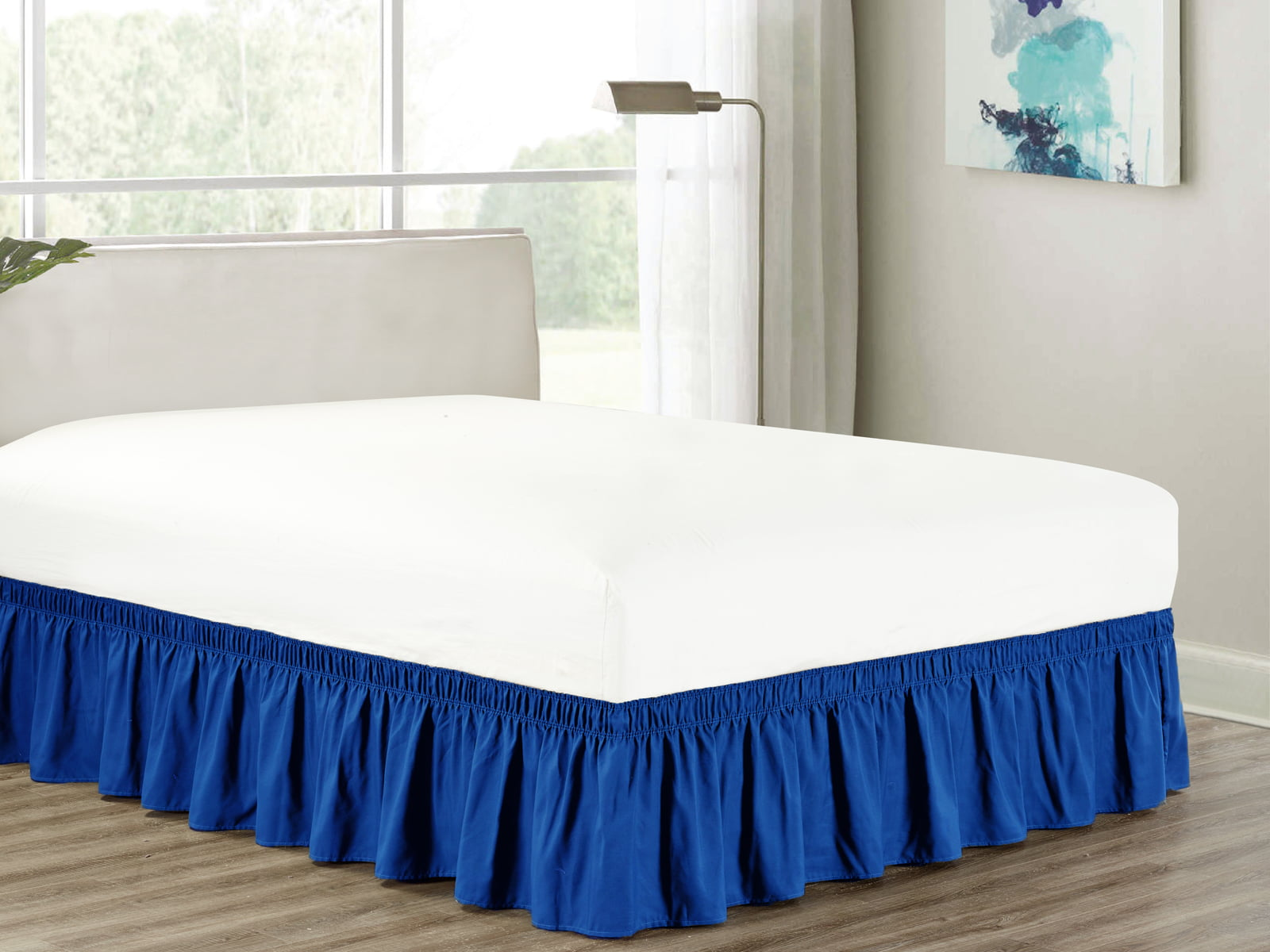 "Heavy Duty Elastic Wrap-Around 18"" Drop Dust Ruffled Bedskirt Cover Blue Queen by HG station"