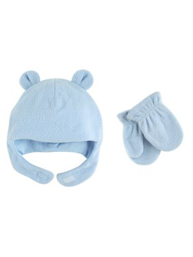 Baby Boy Fleece Hat & Mittens 2pc Set