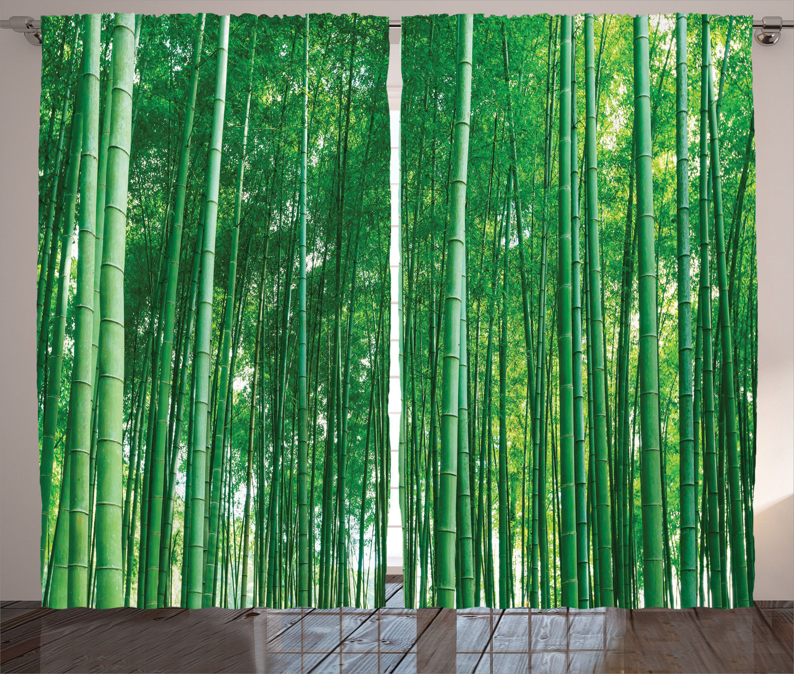 Bamboo House Decor Curtains 2 Panels Set, Bamboo Forest With Fresh Vibrant  Colors Tall Long