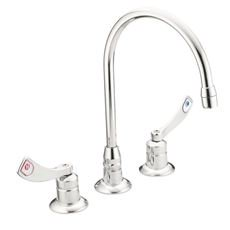 Moen Deck Mounted Kitchen Faucet With Gooseneck Spout And 4 In. Wristblade Handles, 11-1/2 In. High, Lead Free