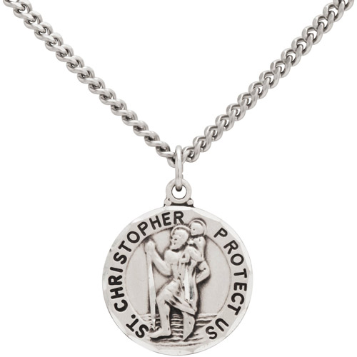 Round St. Christopher Medal Sterling Silver Pendant, 24""