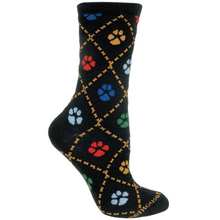 Dog Paws Black Cotton Ladies Socks