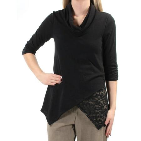 BCX Womens Black Lace 3/4 Sleeve Cowl Neck Faux Wrap Wear To Work Top Juniors  Size: XS Black Lace Cowl