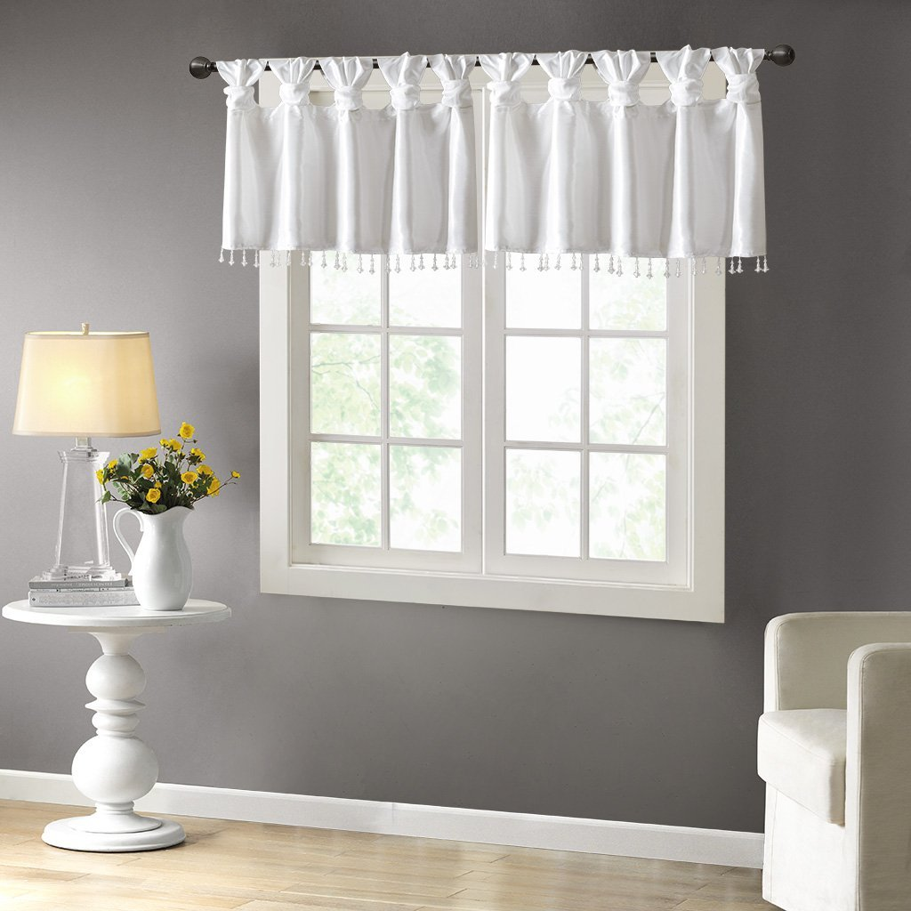 "Emilia Twisted Tab Valance With Beads White 50"" x 26"", Set Include:1 Valance:50""W x 26""L By Madison Park"