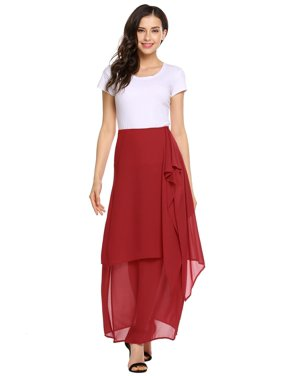 9a966583eb99 Product Image Women Chiffon Double Layered Split Side R uffles Solid Casual  Full Length Skirt HFON