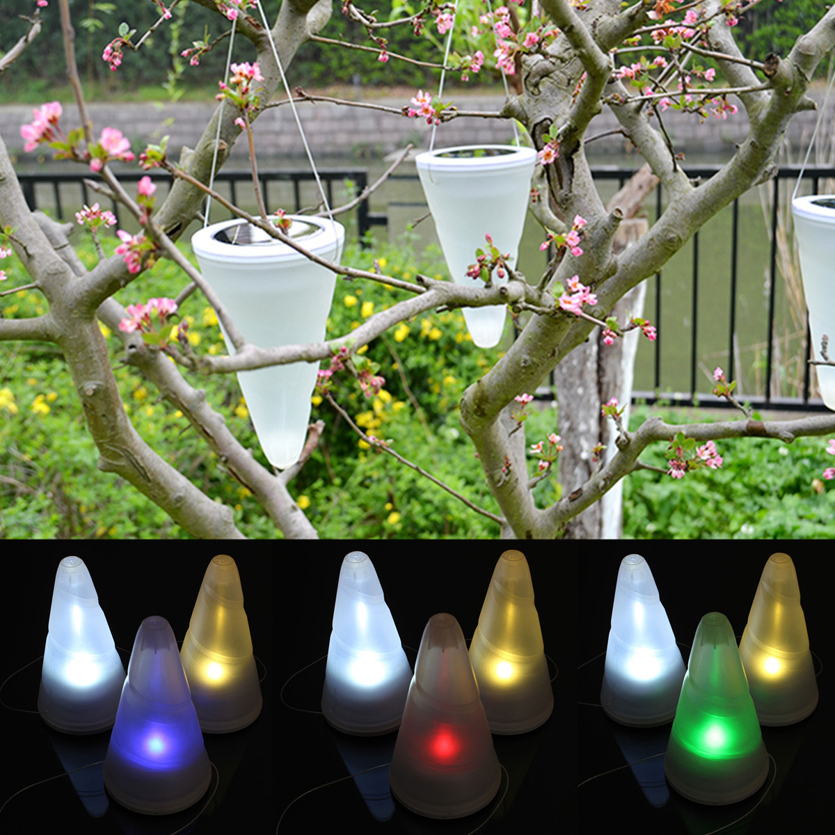 Automatic Solar Powered Cone Lights Garden Outdoor Cornet LED Lamp Hanging  Lantern Drop,RGB Color