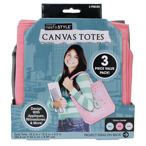 Next Style Canvas Tote Bags, 3-Pack