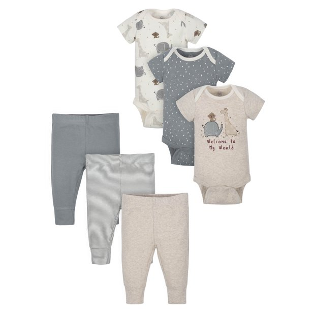 Wonder Nation Baby Boy or Girl Gender Neutral Short Sleeve Bodysuits and Pants Outfit Shower Gift Set, 6-Piece