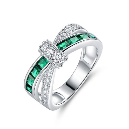 White Gold Nano Emerald Crisscross Ring