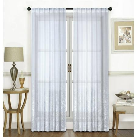 Metallic Pocket - Dainty Home Ombre Lace Metallic Sheer Fabric Rod Pocket Window Curtain Panel Pair