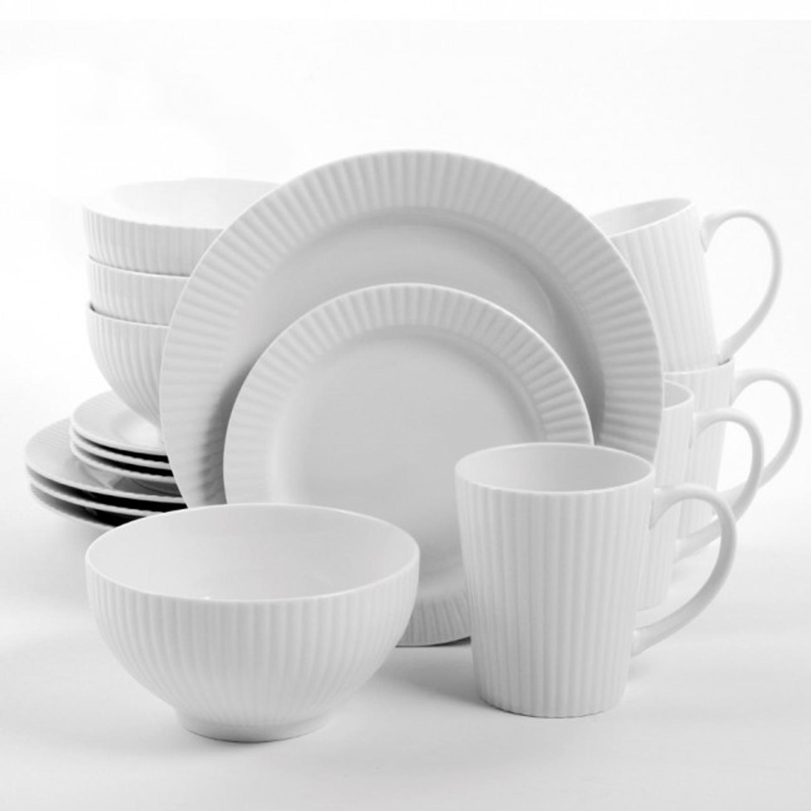 Gibson Amelia Court 16 Piece Dinnerware Set in White Embossed