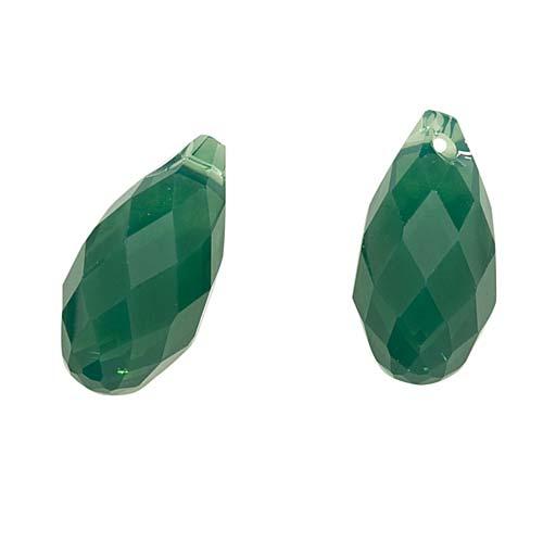 Swarovski Crystal, #6010 Briolette Pendants 13x6.5mm 2 Pieces, Palace Green Opal