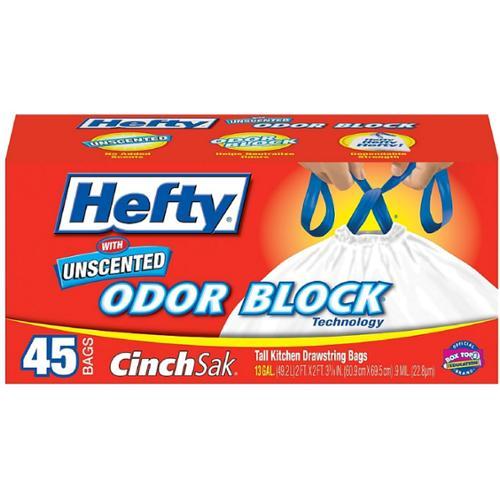 Hefty Cinch Sak Tall Drawstring Kitchen Bags, 13 Gallon, Unscented Odor Block 45 ea (Pack of 2)