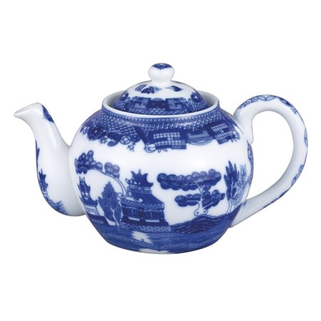 HIC Harold Import Co Blue Willow Porcelain 32 Ounce Teapot with Infuser Blue Tea Set