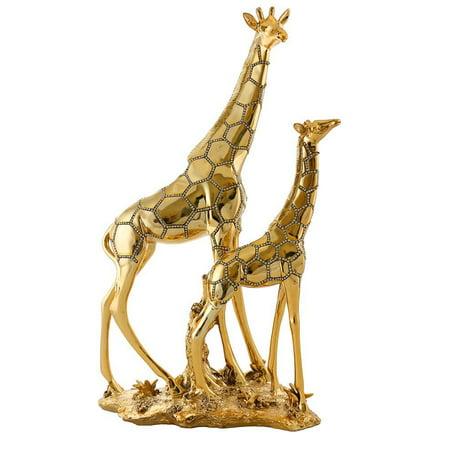 (D) Giraffes Collectible Figurine 19 -inch with 24K Gold and Swarovski Crystals (Gold Giraffe Figurine)
