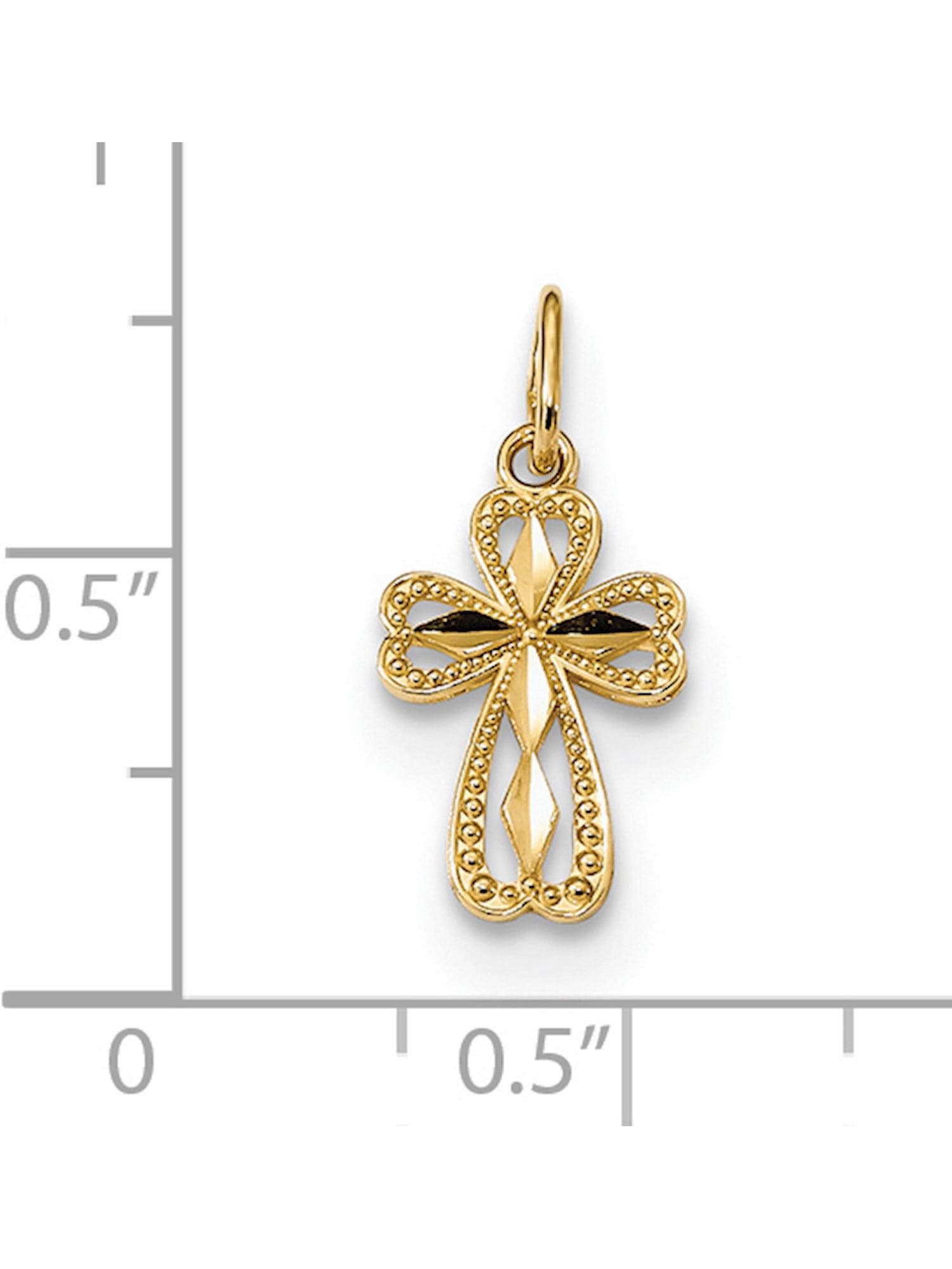 14K Yellow Gold Diamond Cut Polished Small Cross Pendant