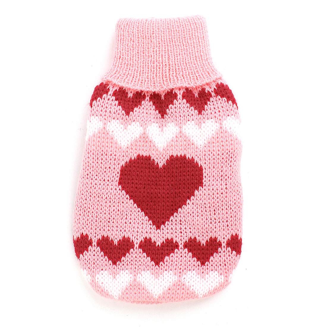 Turtleneck Heart Print Pet Dog Cat Puppy Doggy Knitwear Sweater Pink Red XS