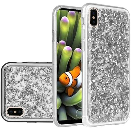 For Apple iPhone X Frozen Glitter with Electroplated Chrome Bumper Edges - Silver/Silver