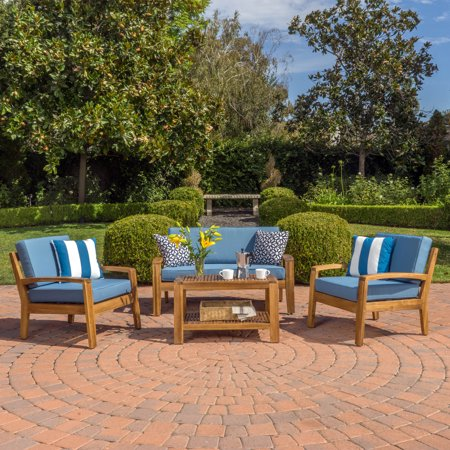 Parma 4 Piece Outdoor Wood Patio Furniture Chat Set with Water Resistant Cushions, Blue ()