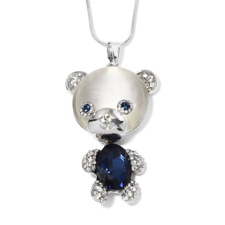 Cubic Zirconia CZ Silvertone Teddy Bear Chain Pendant Necklace for Women Jewelry Gift
