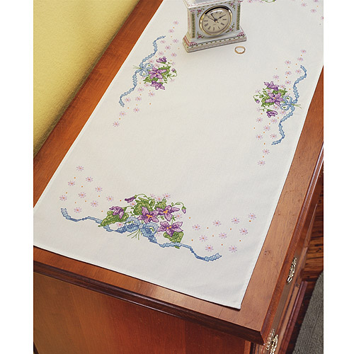 Janlynn Stamped Cross Stitch Kit, Violets Dresser Scarf Multi-Colored