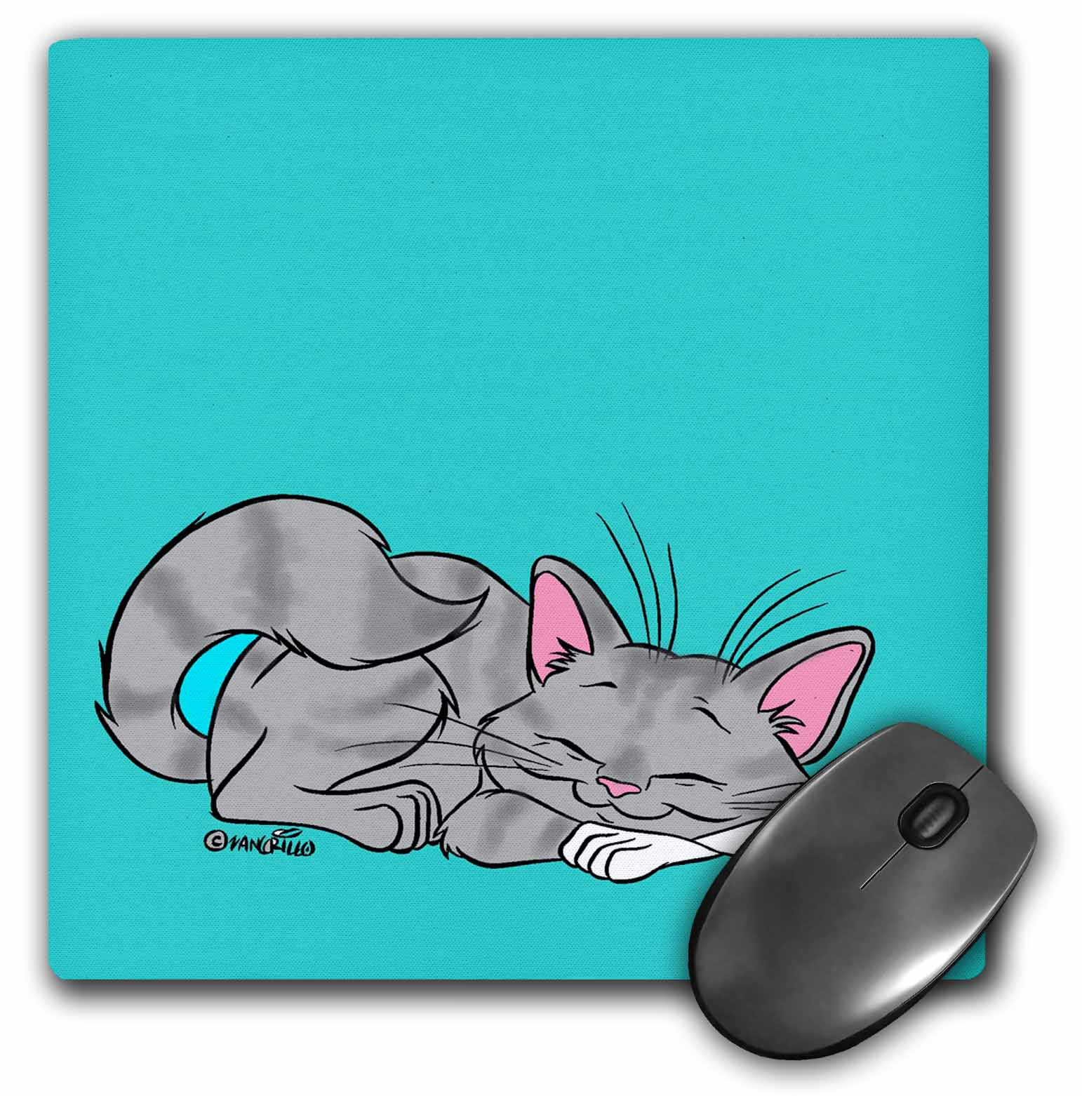3dRose Sleeping Cat, Mouse Pad, 8 by 8 inches
