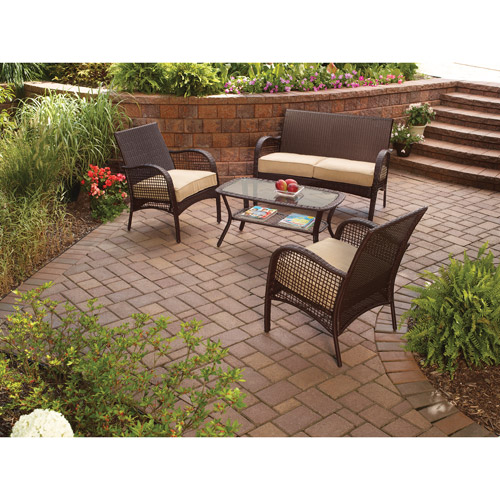 Mainstays Wicker 4 Piece Patio Conversation Set, Seats 4