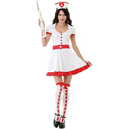Boo! Inc. Night Shift Nurse Women's Sexy Halloween Role Play Costume Scrubs, White - Nurse Halloween Makeup