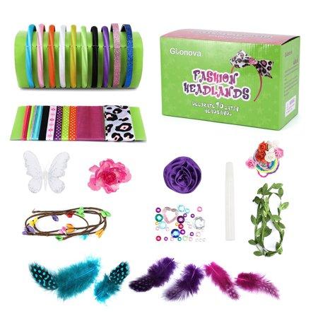 60Pcs DIY Headbands Making Kit for Kids Girls Creativity Hair Band Accessory Set - Diy Headband Kit