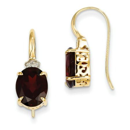 14K Yellow Gold Diamond and Garnet Oval Dangle Earrings - image 2 de 2