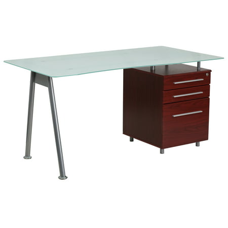 Flash Furniture Computer Desk with Glass Top and 3-Drawer Pedestal ()