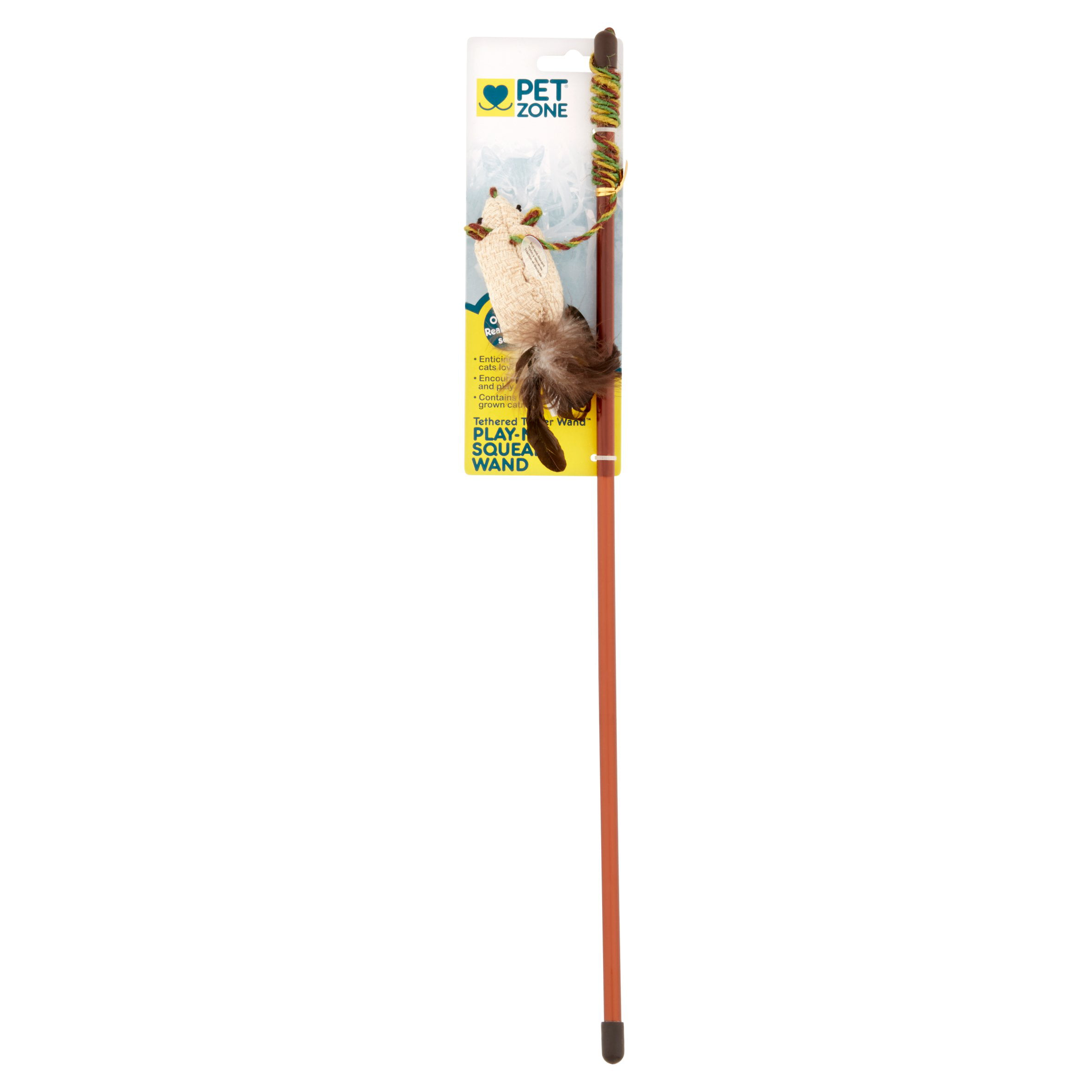 Pet Zone Play-N-Squeak Tethered Teaser Wand Cat Toy by Pet Zone®