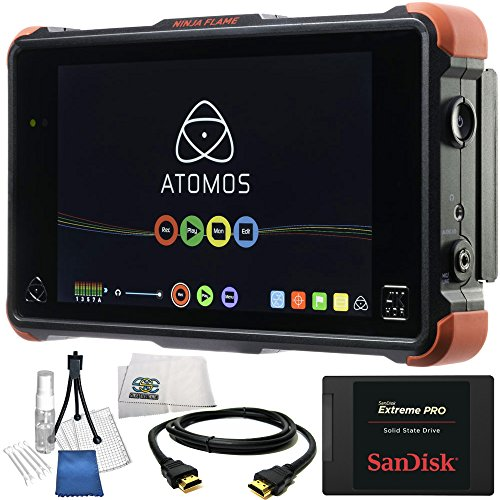"""Atomos Ninja Flame 7"""" 4K HDMI Recording Monitor 14PC Accessory Kit. Includes SanDisk 240GB Extreme Pro Solid State Drive + HDMI Cable + Deluxe Camera Starter Kit + Microfiber Cleaning Cloth"""
