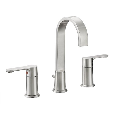 Designers Impressions 615664 Satin Nickel Two Handle Widespread Lavatory Bathroom Vanity Faucet - Bathroom Sink Faucet with Matching Pop-Up Drain Trim Assembly Nickel Two Handle