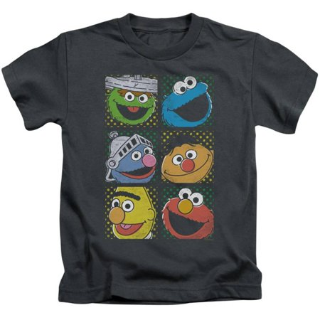 Juvenile: Sesame Street- Character Stamps Apparel Kids T-Shirt - Grey - Online Kids Apparel