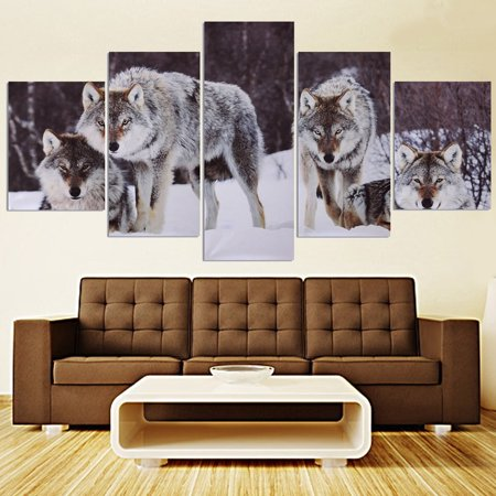 5 Panels Wolf Wall Art Canvas Oil Painting Picture Print Modern canvas print Home Hanging Decor Gift Unframed