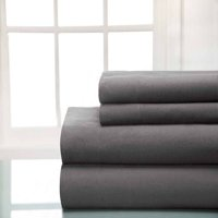 Winter Nights Cotton Flannel Sheet Set, Elite Home Products, Gray, Queen