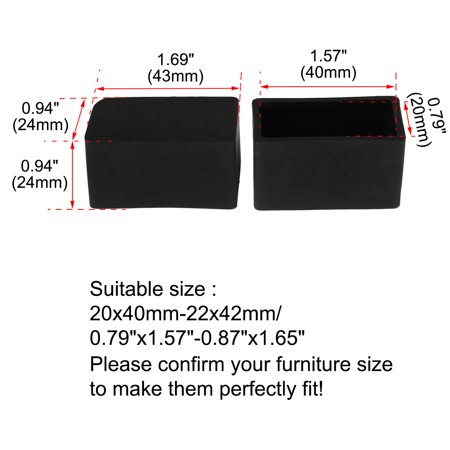 """Desk Table Leg Caps End Tip Home Furniture Protector 32pcs 0.79""""x1.57"""" (20x40mm) - image 2 of 7"""