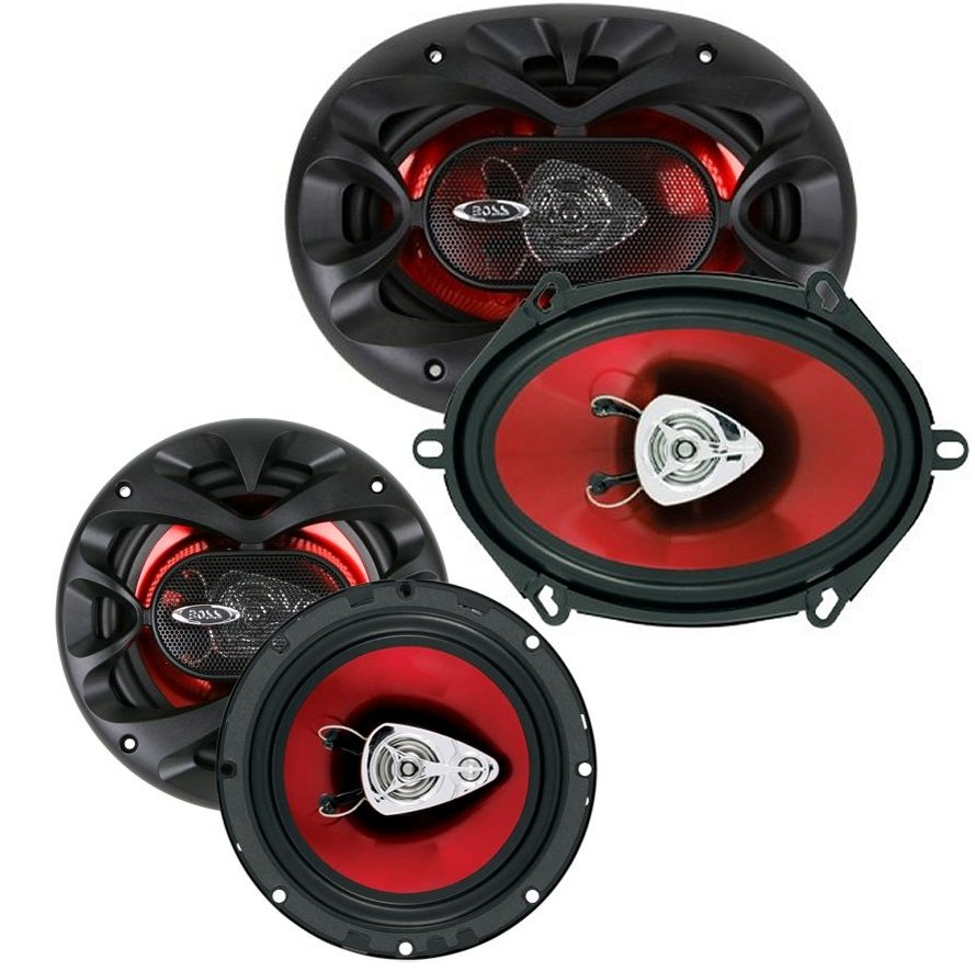 "BOSS CH5730 5""x7"" 300W 3 Way + CH6530 6.5 300W 3 Way Car Coaxial Audio Speakers"