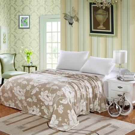 Soft Micro Plush Madison Blanket, Throw Blanket, Floral Printed (Full, Beige)