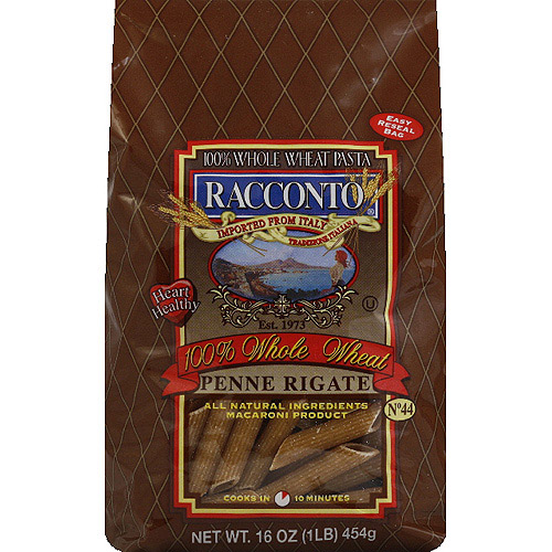 Racconto 100% Whole Wheat Penne Rigate Pasta, 16 oz, (Pack of 12)